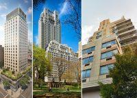 From left: 21 East 12th Street, 15 Central Park West and 240 East 10th Street (Credit: StreetEasy and Google Maps)
