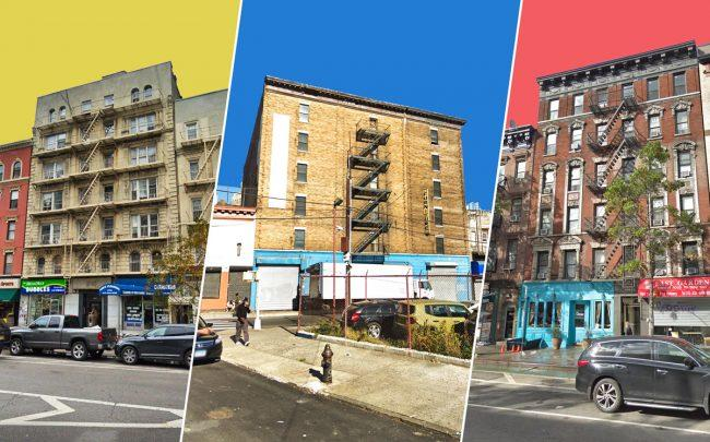 From left: 2785 Broadway, 521 Bergen Avenue in the Bronx, and 1685 First Avenue (Credit: Google Maps)