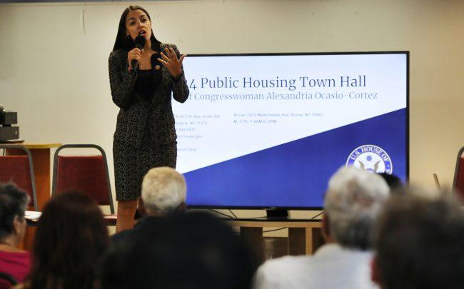 Congresswoman Alexandria Ocasio-Cortez Holds Public Housing Town Hall In The Bronx (Credit: Getty Images)