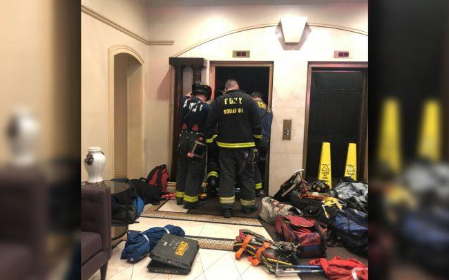 FDNY members at the elevator in 344 Third Avenue (Credit: FDNY via Twitter)