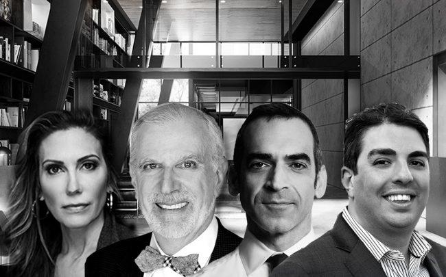 From left: Bess Freedman, Fredrick Peters, Shlomi Reuveni and Eric Benaim with 505 West 43rd Street (Credit: BHS, Warburg Realty, Reuveni, and Charliewestny)