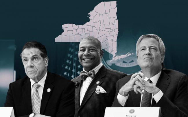 From left: New York Governor Andrew Cuomo, New York State senator James Sanders Jr., and New York City Mayor Bill de Blasio (Credit: Getty Images, iStock, and NY Senate)
