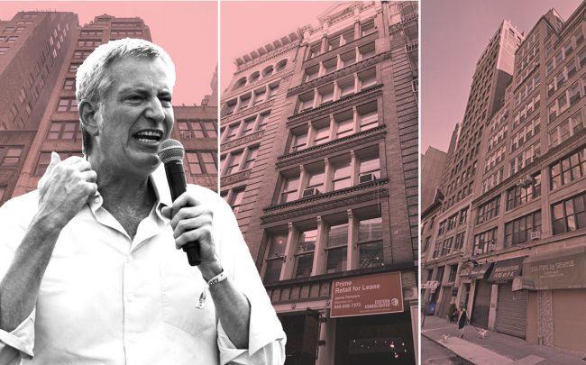 From left: Mayor Bill de Blasio, 54 West 39th Street, 62 Grand Street, and 208 West 30th Street (Credit: Google Maps)