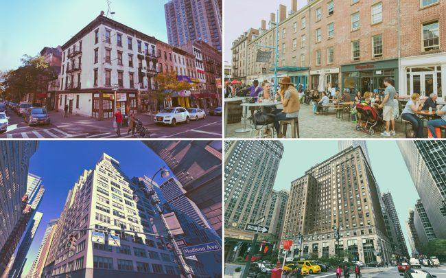 Clockwise from left: 200 East 83rd Street, South Street Seaport, 250 Park Avenue, and 477 Madison Avenue (Credit: Google Maps and NYCgo)