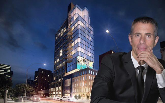Jonathan Leitersdorf and a rendering of the SkyBox project (Credit: Getty Images and 6sqft)