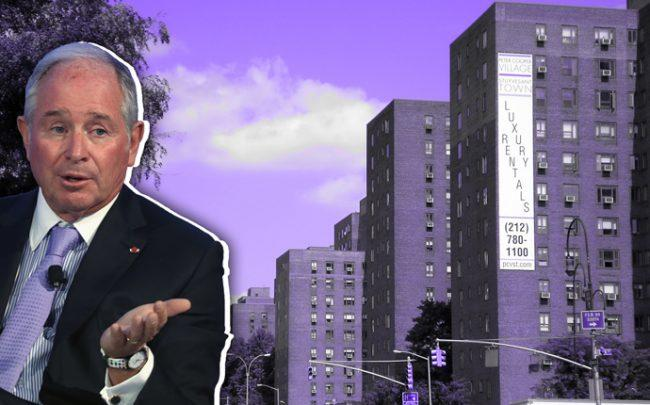 Blackstone CEO Stephen Schwarzman and Stuyvesant Town (Credit: Getty Images and Wikipedia)