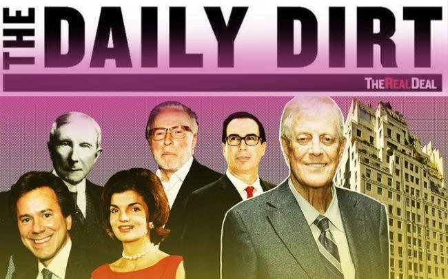 Clockwise from left: John D. Rockefeller, Izzy Englander, Steven Mnuchin, David Koch, Jacqueline Bouvier, and William Zeckendorf (Credit: Getty Images and StreetEasy)