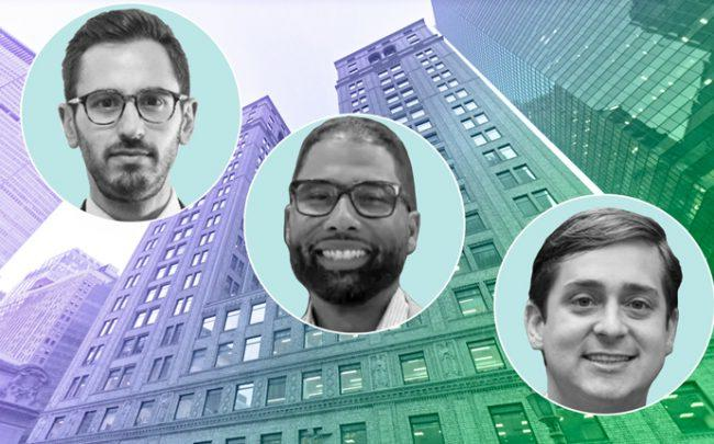 Brett Siegel, Jean Celestin, and Evan Layne with Newmark Knight Frank offices at 125 Park Avenue (Credit: LinkedIn and Google Maps)
