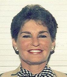 Leona Helmsley's mugshot taken after her arrest in 1988 (Credit: Wikipedia)