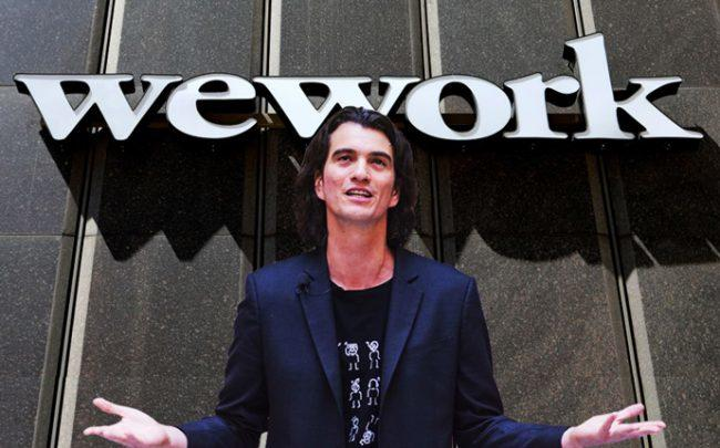 Adam Neumann and a WeWork location in Detroit (Credit: Getty Images)