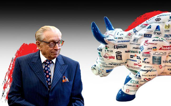 Larry Silverstein and the Tel Aviv Stock Exchange Bull (Credit: Getty Images and Wikipedia)