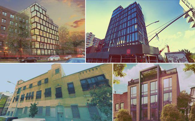 Clockwise from top left: A rendering of 88-92 Linden Boulevard in Flatbush, 554 4th Avenue in Gowanus, 850 Metropolitan Avenue in East Williamsburg, and 447-449 Decatur Street in Stuyvesant Heights (Credit: Brookland Capital and Google Maps)