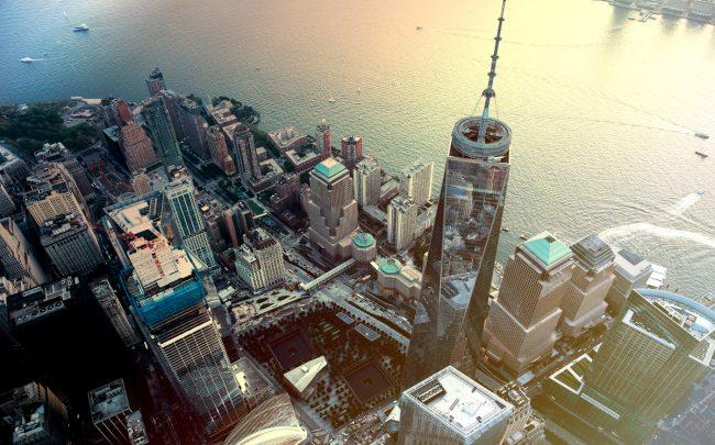 An aerial view One World Trade Center in Lower Manhattan (Credit: iStock)