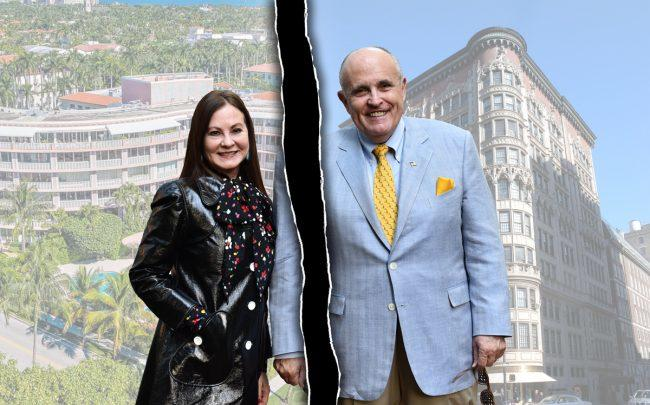 Judith and Rudy Giuliani with 315 South Lake Dr in Palm Beach, Florida and 45 East 66th Street in New York (Credit: Getty Images, Trulia, Highrises)