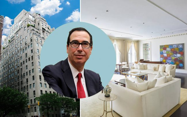 Steven Mnuchin and 740 Park Avenue (Credit: Getty Images, Wikipedia, and Warburg Realty)