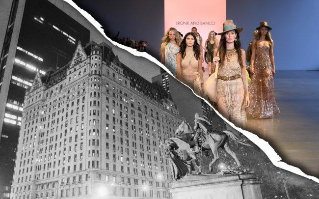 The Plaza Hotel in 1975 and models walking the runway during New York Fashion Week September 2019 (Credit: Getty Images)