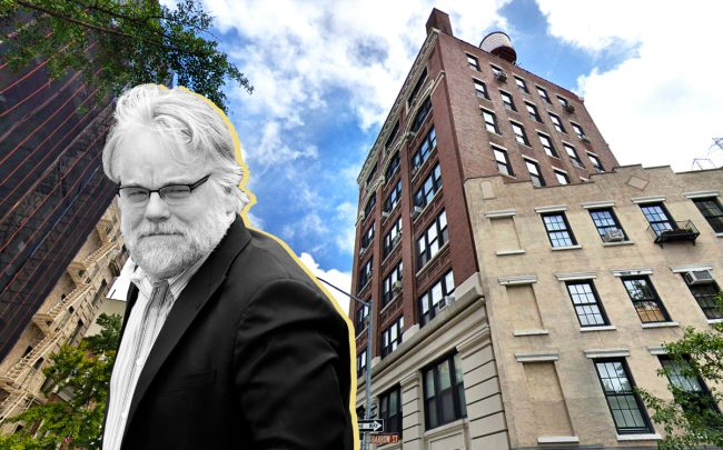 Philip Seymour Hoffman and 1 Sheridan Square (Credit: Getty Images and Google Maps)