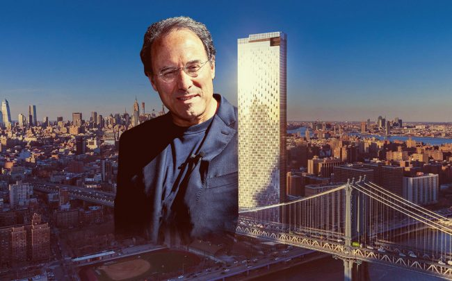 Extell Development chairman Gary Barnett and One Manhattan Square (Credit: Anuja Shakya, StreetEasy)