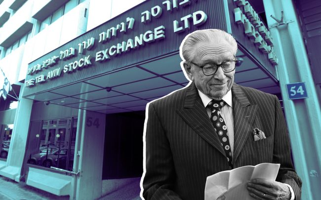 Larry Silverstein and the Tel Aviv Stock Exchange (Credit: Getty Images)