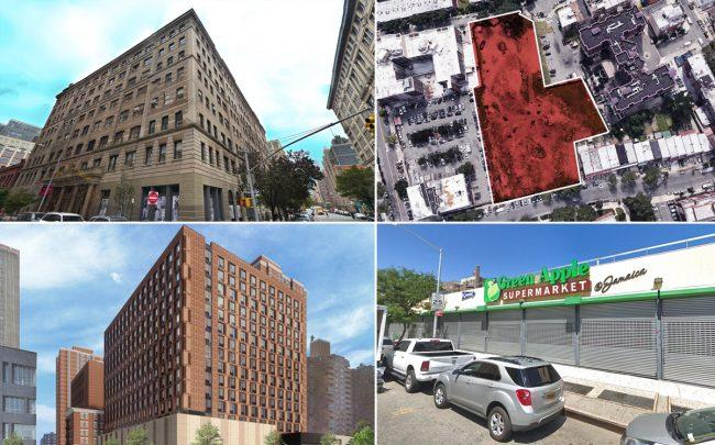 Clockwise from top left: 310 Hudson Street, the site at 71-12 Park Avenue in Queens, 92-33 Guy R Brewer Boulevard and a rendering of 165 Broome Street (Credit: Google Maps and Handel Architects)