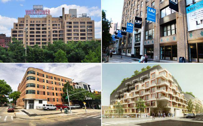 Clockwise from top left: The Watchtower building at 25 Columbia Heights, Long Island University at 1 University Plaza, The Rheingold at 10 Montieth Street and 871 Bushwick Avenue in Brooklyn (Credit: Wikipedia and Google Maps)