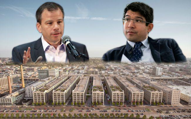 Industry City CEO Andrew Kimball, Brooklyn City Council member Carlos Menchaca and Industry City (Credit: Getty Images)