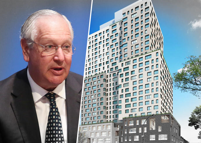 The Brodsky Organization's Daniel Brodsky and a rendering of 664 Pacific Street in Brooklyn (Credit: Getty Images and Pacific Park Brooklyn)