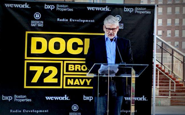 WeWork's co-CEO Sebastian Gunningham speaks at the launch of Dock 72