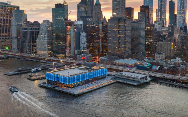 Aerial views of Howard Hughes Corporation's redevelopment of Pier 17