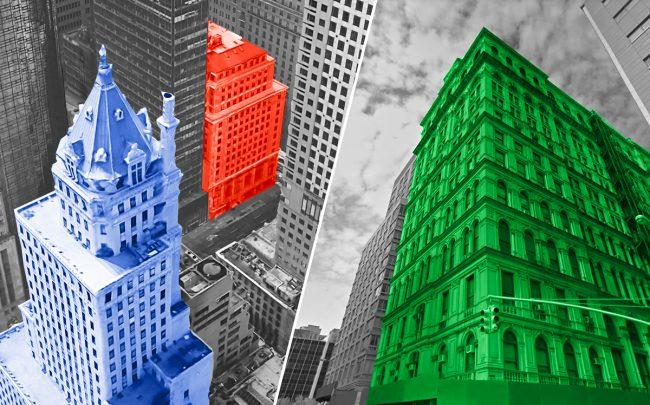 The Coca Cola Building (red) at 711 Fifth Avenue, the Crown Building (blue) at 730 Avenue, and the Tribeca Clock Tower (green) at 108 Leonard Street (Credit: Google Maps)
