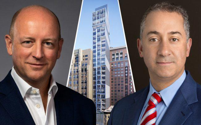 Optera Capital's Glenn Alba, AWH Partners' Russ Flicker and a rendering of 88 Schermerhorn Street