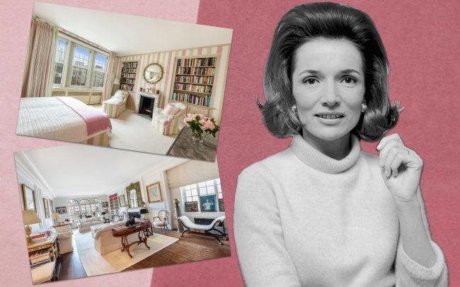 Lee Radziwill and her home at 160 East 72nd Street (Credit: Getty Images, Brown Harris Stevens)