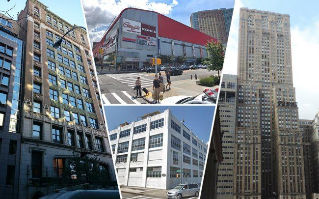 Clockwise from left: 150 West 22nd Street, 61-35 Junction Boulevard, 1 Grand Central Place and 630 Flushing Avenue (Credit: StreetEasy, Google Maps, Wikipedia)