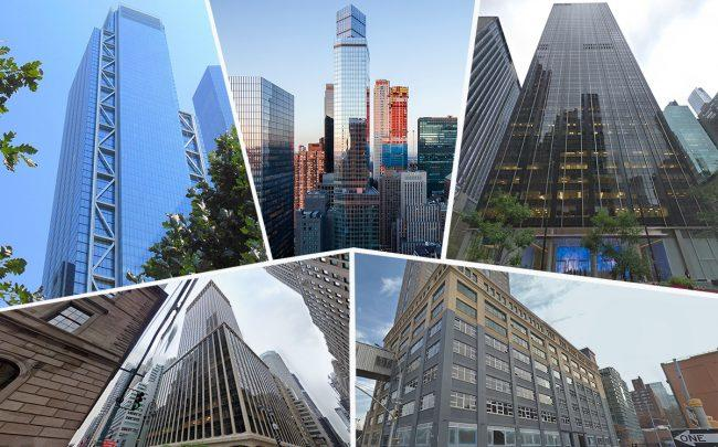 Clockwise from top left: 3 World Trade Center, 1675 Broadway, 1345 Sixth Avenue, 175 Pearl Street and 437 Madison Avenue (Credit: Google Maps, Wikipedia, Rudin Management)