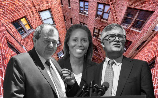 From left: REBNY President James Whelan, Housing Preservation and Development Commissioner Louise Carroll and State Senator and Housing Committee Chair Brian Kavanagh (Credit: Facebook, Twitter, Getty Images, iStock)