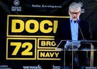 WeWork's co-CEO Sebastian Gunningham speaks at the launch of Dock 72