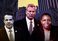 From left: Governor Andrew Cuomo, Mayor Bill de Blasio, and Tax Equity's Martha Stark (Credit: Getty Images and NYU Wagner)