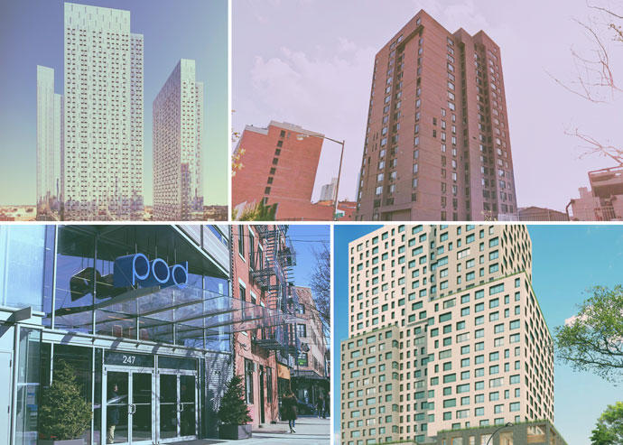 Clockwise from the top left: Jackson Park at 28-40 Jackson Avenue, 240 Willoughby Street in Fort Greene, 664 Pacific Street in Brooklyn, and 247 Metropolitan Avenue in Williamsburg (Credit: StreetEasy, Google Maps, Pacific Park Brooklyn, The Pod Hotel)