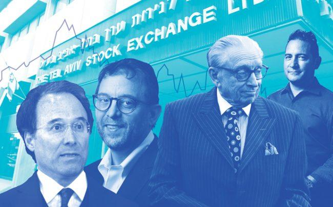 From left: Gary Barnett, David Lichtenstein, Larry Silverstein and Boaz Gilad with the Tel Aviv Stock Exchange