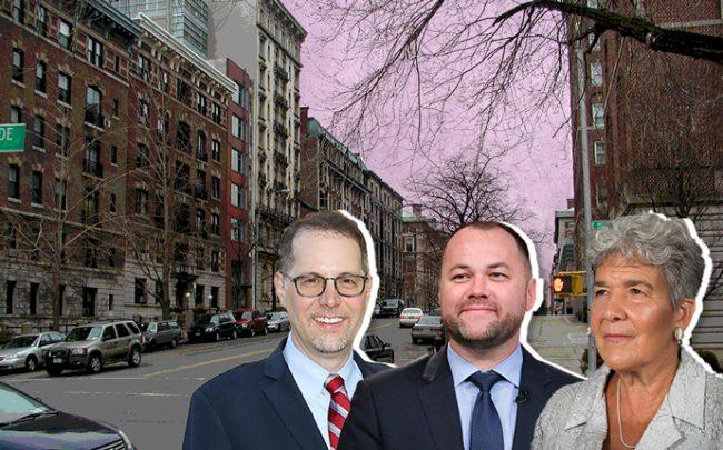From left: Mark Levine, Corey Johnson, and Marisa Lago with Morningside Heights (Credit: Getty Images and Wikipedia)