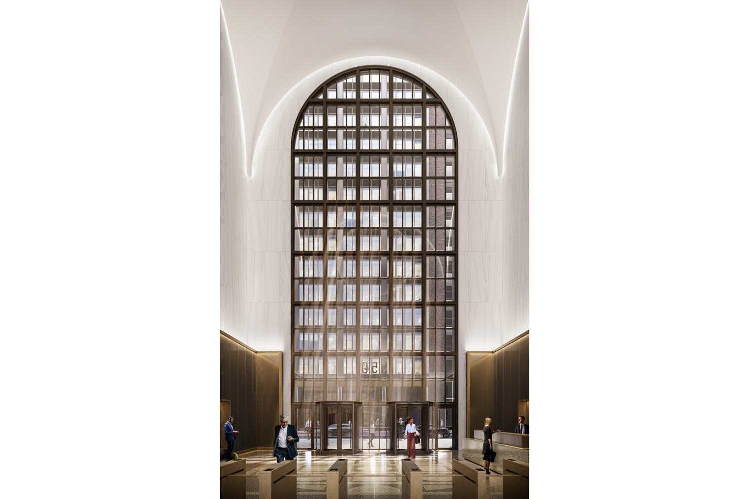 Renderings of 550 Madison's lobby (Credit: Gensler)