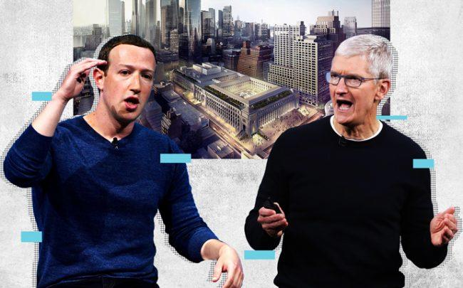 Facebook CEO Mark Zuckerberg and Apple CEO Tim Cook with a rendering of the Farley development (Credit: Getty Images, SOM iStock)