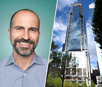 Uber CEO Dara Khosrowshahi and 3 World Trade Center (Credit: Uber and Wikipedia)