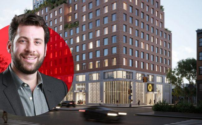 Avery Hall principal Brian Ezra and a rendering of 204 Fourth Avenue (Credit: Avery Hall and Startup Columbia)