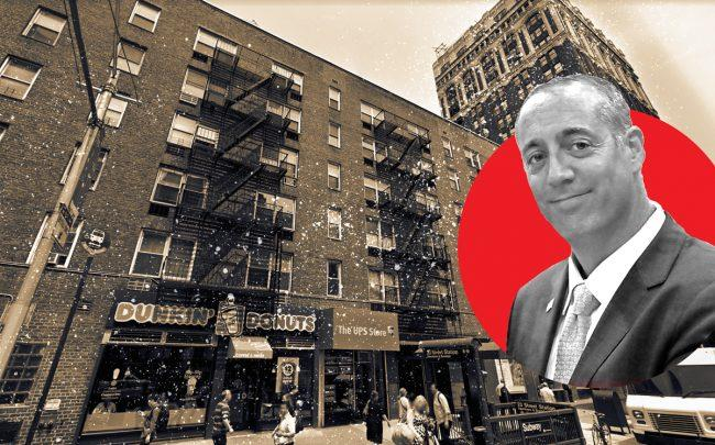 101 West 23rd Street and E&M Management principal Daniel Goldstein (Credit: Google Maps and E&M)