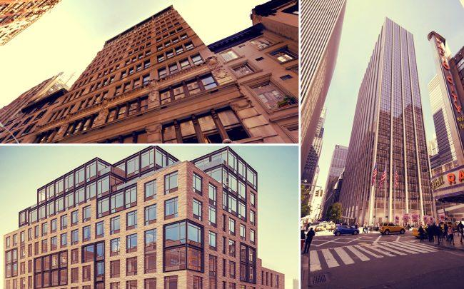 Clockwise from left: 31 West 27th Street, 1271 Sixth Avenue, 781 Metropolitan Avenue (Credit: StreetEasy and Google Maps)