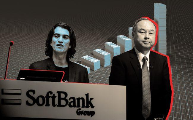 Former WeWork CEO Adam Neumann and Softbank CEO Masayoshi Son (Credit: Getty Images)