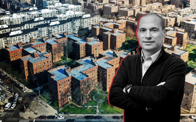 A&E Real Estate Holdings principal Douglas Eisenberg and the properties along Queens Blvd and 65th Avenue (Credit: The Rego Park 18 Portfolio)