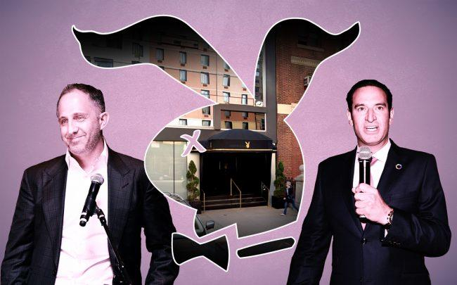 Playboy CEO Ben Kohn and Adam Hochfelder with 510 West 42nd Street (Credit: Google Maps, Getty Images)