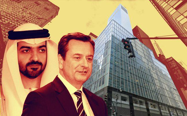 ADIA managing director Hamed bin Zayed Al Nahyan, Munich RE CEO Joachim Wenning and 330 Madison Avenue (Credit: Getty Images, Google Maps)